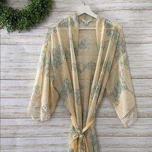 Flora Nikrooz Chiffon Lace Trim Kimono Robe
